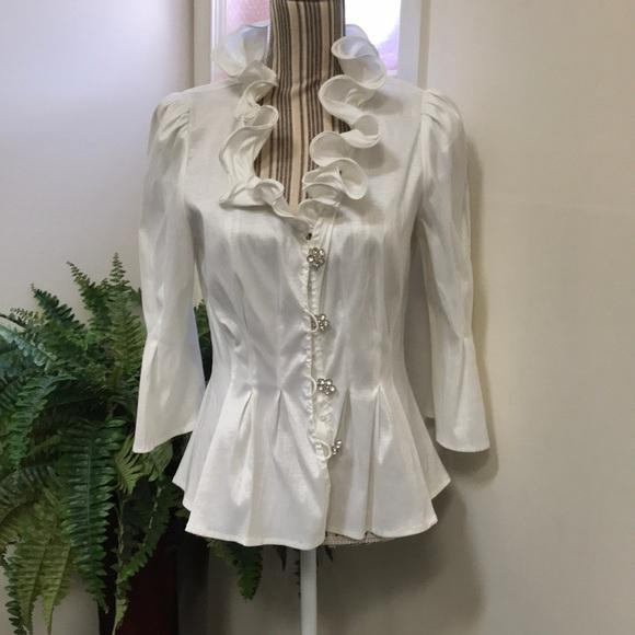 8cbd924c7c44 Chetta B Tops | Tapered Ivory Dress Blouse By | Poshmark